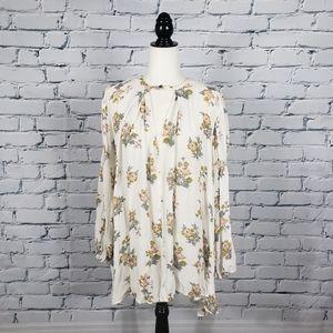 Free People White Floral Print Tunic Dress